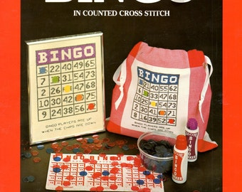Bingo Card Numbers Colored Markers Free Space Tote Bag Counted Cross Stitch Embroidery Craft Pattern Leaflet