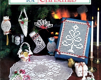 Victorian Crochet for Christmas Filet Tree Doily Stocking Box Basket Cone Fan Ornaments Star Bells Swag Ribbon Craft Pattern Leaflet