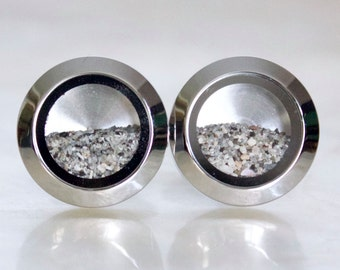 Fillable Stainless Steel Sands of Time Shake Cuff Links w/Beach Sand - Beach Wedding/Vacation Keepsake - Ready to Ship