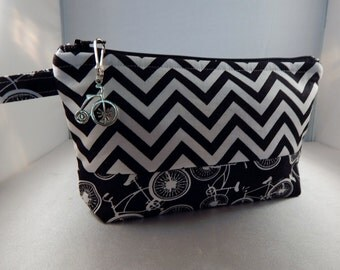 Black Chevron Bicycle Bag bicycle Pull Ready to Ship Makeup Cosmetic Organizer Bag