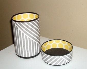 Gray and Yellow Desk Accessories / Striped Pencil Holder / Polka Dot Pencil Cup / Office Desk Organizer / Dorm Decor - 908