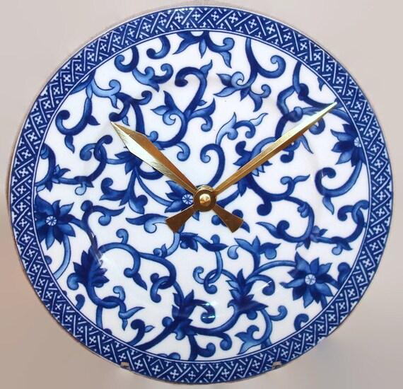 Navy Blue Floral Wall Clock - Ralph Lauren Porcelain Plate Wall Clock - Kitchen Clock - Unique Wall Clock - 8.5 Inches - 2000