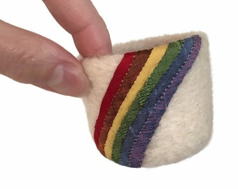Felt Bowl Felted Rainbow Ring Dish Small Mini Soft Container Wool Bowl Bridesmaid Best Friend Hostess Housewarming Gift