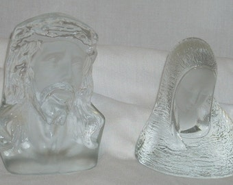 Mid Century Viking Art Glass Jesus and Mary Book Ends