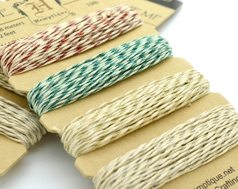 Christmas Bakers twine, 1mm Hemp Twine, Christmas Twine, Metallic Thread, Twine Cord -HC88