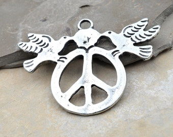 Pewter  Peace Sign Pendant, 1pc, 38x25mm,   Two Doves, Made in USA -P353