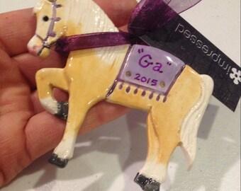 Princely Palomino circus horse ornament