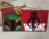 Boba Fett Hand painted wooden sign Star Wars
