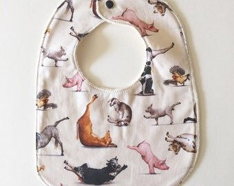 Baby Bib with Organic Cotton. Yoga Animals!