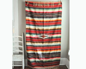 Vintage Woven Mexican Blanket Southwest Style Wall Hanging or Blanket Saltillo Serape