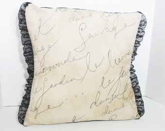 "French script pillow cover, Shabby sham decor, rustic tan pillow,  18 inch French decor, 20"" lace pillow, tan & black lace, French country"