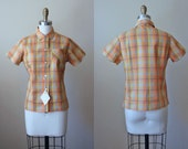 1950s Top - 50s Vintage Blouse - Orange Mustard Plaid Deadstock Cotton Shirt S M - In Her Element Top