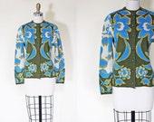 1960s Sweater - Vintage 60s Catalina Cardigan - Blue Olive Mustard Midcentury Scandinavian Wool Cardigan S M - Jacquard Sweater