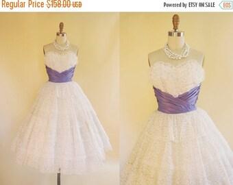 ON SALE 1950s Dress - Vintage 50s Dress - White Lace Lavender Taffeta Wedding Party Prom Dress XS - Confectioner's Sugar Dress