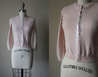 1950s Sweater - Vintage 50s Cashmere Cardigan - Blush Pink w Crystal Sequins + Beads Sweater XS - Oh You Sweetest Thing Sweater