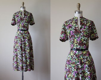 1940s Dress - Vintage 40s Dress - Cold Rayon Colorful Floral Print Swing Skirt Day Dress S M - First Glance Dress