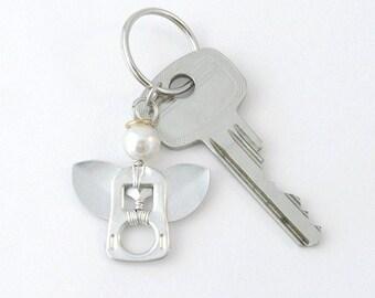 pop tab angel keychain, soda can tab angel keyring,  soda tab angel bag charm, angel key charm, upcycled keychain, recycled keychain