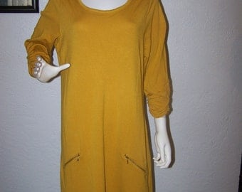 1990s ALFANI Mustard Yellow Short Knit Dress Size 1X Plus Size Cute Fall Fashion Women's Zippers Summer Fall Tunic Trendy Knee Length Style