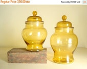Gold glass apothecary jar set, 2 amber glass canisters, lidded jars, kitchen canisters, kitchen or bath storage, textured glass, honey color