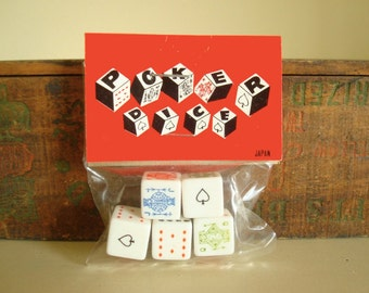 Vintage dice, poker dice, set of 5, stocking stuffer, original 1960s package, gifts for guys, unisex coworker gift, man cave, poker night