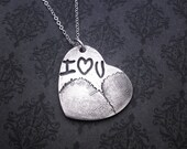 Handwriting and Fingerprint Combo Jewelry - Handwriting & Fingerprint Necklace - Fine Silver