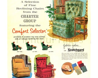 1966 La-Z-Boy Reclina-Rocker Vintage Ad, Advertising Art, 1960's Decor, Vintage Illustration, Retro Furniture, 1960's Furniture, Retro Ad.