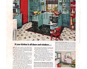 1949 Armstrongu0027s Linoleum Floors Vintage Ad, 1940u0027s Decor, Retro Decor,  1940u0027s Kitchen,