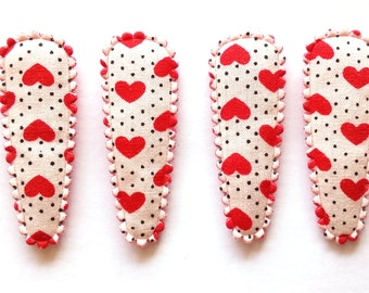 25 pcs - Cute Love Heart with Dot Hair Clip COVER  - size 40 mm - Red Color