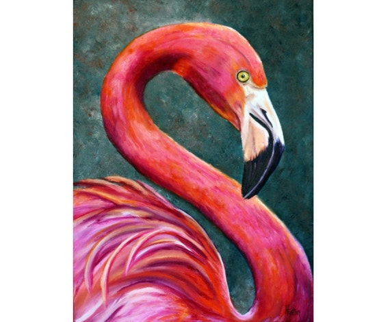 Flamingo painting flamingo portrait exotic bird pink for Flamingo feather paint
