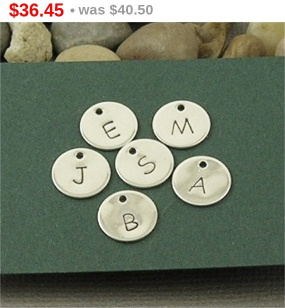 ON SALE Pick 9 Alphabet Charms Hand Stamped Letters Sterling Silver