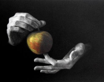 "Original art print ""The Apple"". Left part of the triptych. Mezzotint with Chine Colle. Edition of 100."