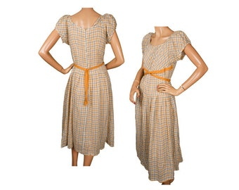 Vintage 1930s Gingham Cotton Dress - Country Girl - Yellow Gray - S - M