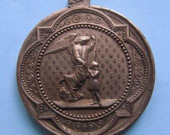 Guardian Angel French Gothic Antique Religious Medal Saint Joseph Catholic Pendant Signed Penin  SS68