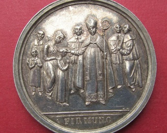Antique Silver German Holy Spirit Confirmation Religious Medal Circa 1800   SS348