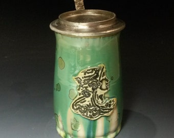 Totally Handcrafted Crystalline Glazed Silver Green White Art Nouveau Goddess Profile Stamped Porcelain Hand Cast Pewter Lidded Beer Stein