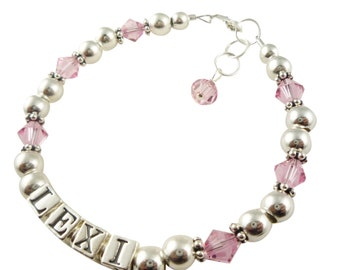 Pink crystal name bracelet for girls - choose swarovksi crystal color and size and personalization