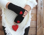 Valentines Day Gift, Red Hearts Gloves, Knit Fingerless Gloves, Black Gloves, Half Finger Gloves, Winter Gloves, Arm Warmers