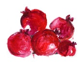 Pomegranates Art print, Pomegranates art, kitchen art, still life, Rosh Hashanah, ruby red,  home decor, fruits art, modern art