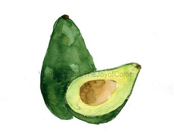 Avocado study number three ,Avocado art print, watercolor print avocado, Avocado green, Botanical painting, Kitchen art, minimalist