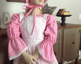 New Girls Pioneer Prairie Colonial Historical Dress Costume with Bonnet Pinafore READY to ship size 8