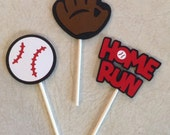 Baseball Cupcake Toppers - Birthday Supplies, Party Decorations
