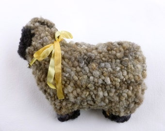 Sheep pillow traditional rug hooking ready to ship