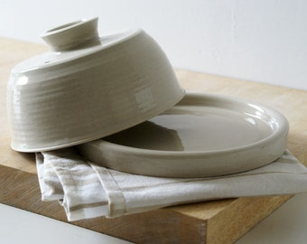 Hand thrown butter dish in simply clay - british stoneware pottery