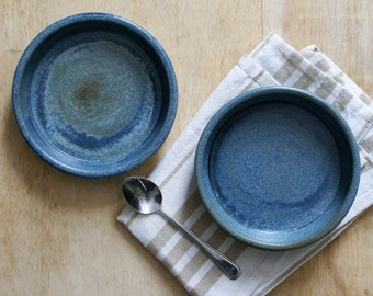 Set of two hand thrown coasters - small dishes glazed in smokey blue
