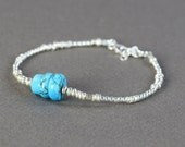 Turquoise and sterling silver beads bracelet