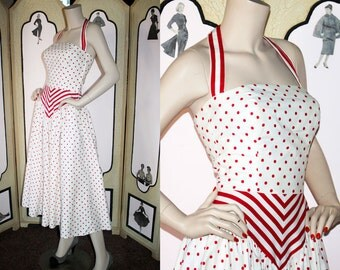 Vintage Victor Costa Halter Dress in Red and White Polka Dots and Stripes. Small.