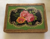 Antique French Reverse Painted Glass Trinket Jewlery Box