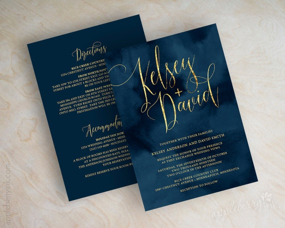 Navy And Gold Wedding Invitations: Wedding Invitations Navy Wedding Invitation Navy And Gold