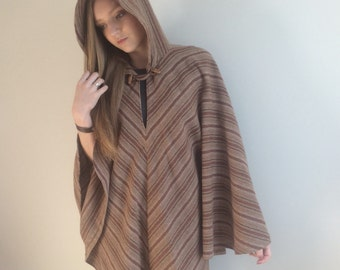 70s Wool Cape, Boho Poncho Cape Blanket Coat, Hippie Hooded Cape, Brown Shawl, Wool Blanket Scarf, Jedi Coat, Cape, One Size Made in Wales