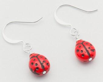 Red Ladybug Earrings, Silver Plated, Ladybug Earrings, Small